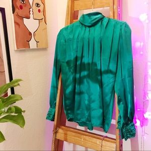 Turquoise Vintage High Neck Silk Blouse